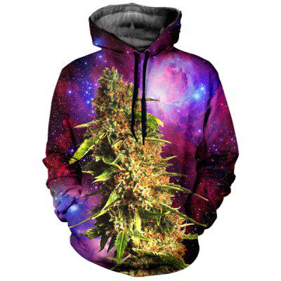 Cool 3D Starry Sky Cannabin Print Front Pocket Drawstring Hooded Long Sleeves Men's Loose Fit Hoodie