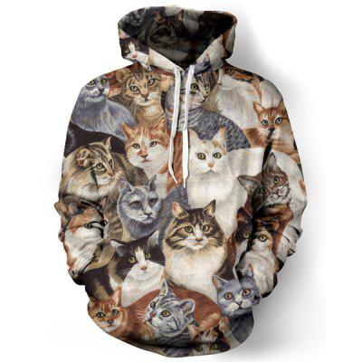 Funny 3D Animal Cat Print Front Pocket Drawstring Hooded Long Sleeves Men's Loose Fit Hoodie
