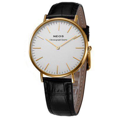 NEOS 40687M Genuine Leather Band Men Japan Quartz Watch