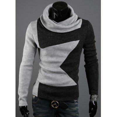 Five-Pointed Star Pattern Color Block Slimming Heaps Collar Long Sleeves Men's Thicken Sweater