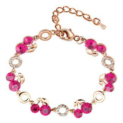 Fresh Style Rhinestoned Cherry Bracelet For Women