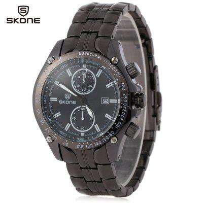 SKONE 5047 Sports Quartz Calendar Male Watch with Date Screw Crown