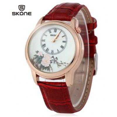 SKONE 9291 Chinese Style Peony Magpie Pattern Women Quartz Watch