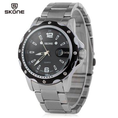 SKONE 7147 Men Quartz Calendar Luminous Watch with Steel Band