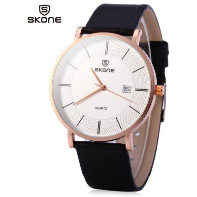 SKONE 9307 Male Ultrathin Quartz Leather Watch for Students