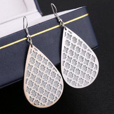Pair of Water Drop Dull Polish Hollow Out Earrings