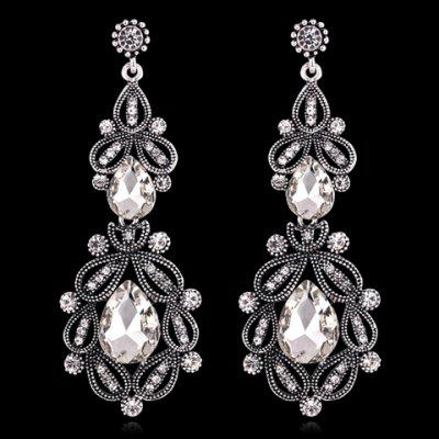 Pair of Chic Faux Crystal Hollow Out Waterdrop Earrings For Women
