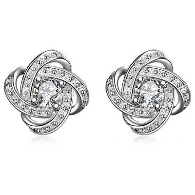 Pair of Classic Geometric Shape Silver Plated Stud Earrings for Women