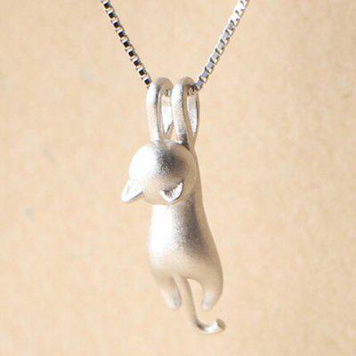 Dull Polished Kitten Shape Pendant Necklace