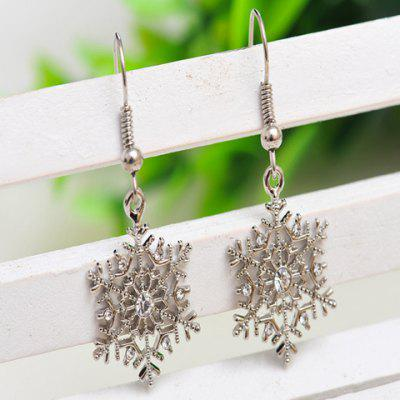 Pair of Alloy Rhinestone Snowflake Earrings