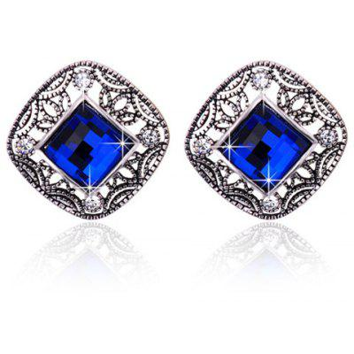 Pair of Noble Faux Sapphire Hollow Out Square Earrings For Women