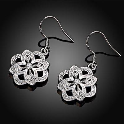 Silver Plated Floral Shape Zircon Design Drop Earrings