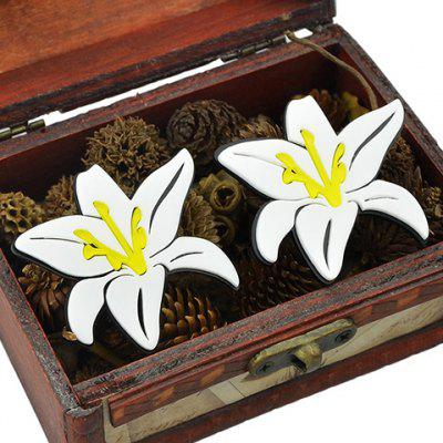 Pair of Alloy Lily Flower Stud Earrings