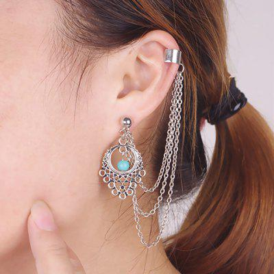 ONE PIECE Vintage Tassel Faux Turquoise Hollow Out Ear Cuff