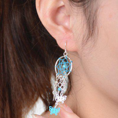 Pair of Stylish Dreamcatcher Butterfly Tassel Earrings For Women