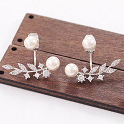 Pair of Leaf Faux Pearl Rhinestone Earrings