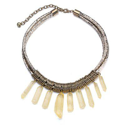 Resin Tassel Faux Leather Layered Necklace For Women