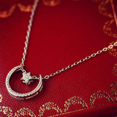 Stylish Rhinestone Star Moon Necklace For Women
