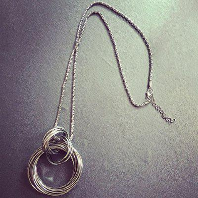 Annulus Alloy Hollow Out Pendant Necklace