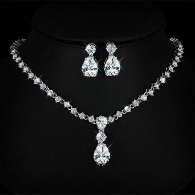 Fake Crystal Teardrop Wedding Jewelry Set