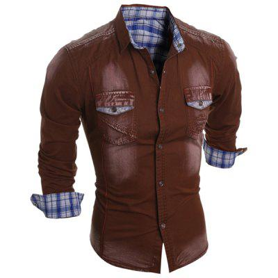 Turn-Down Collar Bleach Wash Plaid Lining Long Sleeve Pocket Men's Denim Shirt