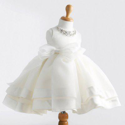 Cute Sleeveless Rhinestone Embellish Bowknot Design White Ball Gown Dress For Girl