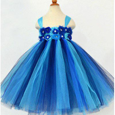 Fashionable Sleeveless Flower Embellish Color Block Multilayered Ball Gown Dress For Girl