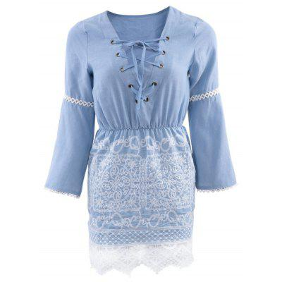 Stylish V-Neck Flare Sleeve Lace Spliced Lace Up Denim Ladies Midi Dress