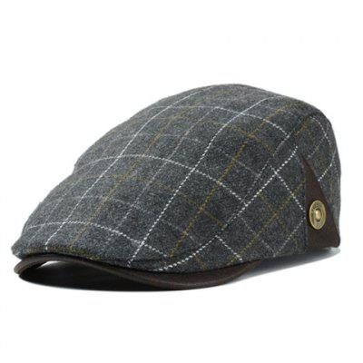 Stylish Various Plaid Pattern Felt Beret For Men