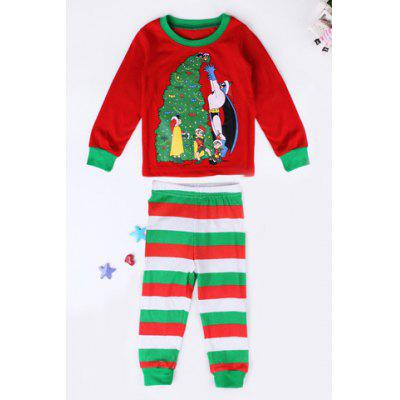 Stylish Round Neck Long Sleeve Christmas Tree Print T-Shirt + Striped Color Block Pants Kid's Twinset