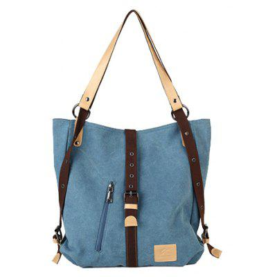 Stylish Buckle and Canvas Design Women's Shoulder Bag