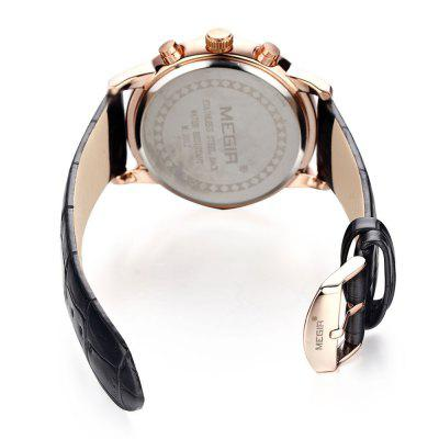 MEGIR 2304 30M Water Resistance Men Quartz WatchMens Watches<br>MEGIR 2304 30M Water Resistance Men Quartz Watch<br><br>Band material: Genuine Leather<br>Brand: MEGIR<br>Case material: Alloy<br>Clasp type: Pin buckle<br>Display type: Analog<br>Hour formats: 24 Hour<br>Movement type: Quartz watch<br>Package Contents: 1 x MEGIR 2304 Watch<br>Package size (L x W x H): 27.00 x 5.00 x 2.00 cm / 10.63 x 1.97 x 0.79 inches<br>Package weight: 0.140 kg<br>Product size (L x W x H): 26.00 x 4.20 x 1.00 cm / 10.24 x 1.65 x 0.39 inches<br>Product weight: 0.090 kg<br>Shape of the dial: Round<br>Special features: Moving small three stitches, Stopwatch, Date, Luminous<br>The band width: 2.0 cm / 0.79 inches<br>The dial diameter: 4.2 cm / 1.77 inches<br>The dial thickness: 1.0 cm / 0.63 inches<br>Watch style: Business<br>Watches categories: Male table<br>Water resistance: 30 meters<br>Wearable length: 26cm