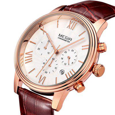 MEGIR 2304 30M Water Resistance Men Quartz WatchMens Watches<br>MEGIR 2304 30M Water Resistance Men Quartz Watch<br><br>Band material: Genuine Leather<br>Brand: MEGIR<br>Case material: Alloy<br>Clasp type: Pin buckle<br>Display type: Analog<br>Hour formats: 24 Hour<br>Movement type: Quartz watch<br>Package Contents: 1 x MEGIR 2304 Watch<br>Package size (L x W x H): 27.00 x 5.00 x 2.00 cm / 10.63 x 1.97 x 0.79 inches<br>Package weight: 0.1400 kg<br>Product size (L x W x H): 26.00 x 4.20 x 1.00 cm / 10.24 x 1.65 x 0.39 inches<br>Product weight: 0.0900 kg<br>Shape of the dial: Round<br>Special features: Moving small three stitches, Stopwatch, Date, Luminous<br>The band width: 2.0 cm / 0.79 inches<br>The dial diameter: 4.2 cm / 1.77 inches<br>The dial thickness: 1.0 cm / 0.63 inches<br>Watch style: Business<br>Watches categories: Male table<br>Water resistance: 30 meters<br>Wearable length: 26cm