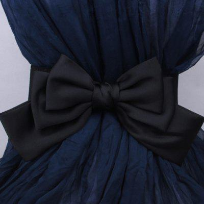 Chic Big Satin Bow Embellished Elastic Waistband For Women