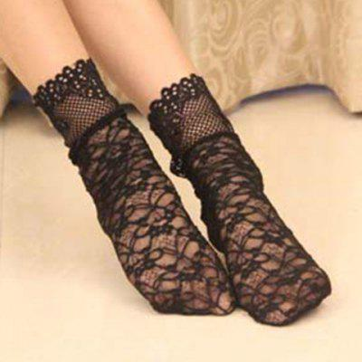 Hollow Out Thin Lace Socks For Women