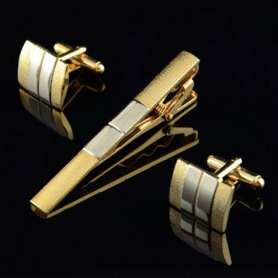 A Suit of Chic Alloy Color Block Square Rectangle Cufflinks For Men