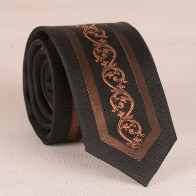Retro Jacquard 6CM Width Black Matching Tie For Men