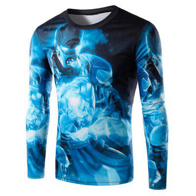 Round Neck 3D Blue Iron Man Print Long Sleeve Men's T-Shirt