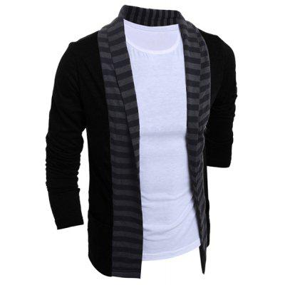 Turn-Down Collar Color Block Splicing Stripe Long Sleeve Men's Cardigan