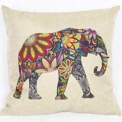 Simple Colorful Elephant Printed Square Composite Linen Blend Pillow Case