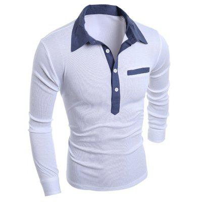Buy WHITE Turn-Down Collar Chambray Splicing Long Sleeve Buttons Men's Polo T-Shirt for $7.46 in GearBest store
