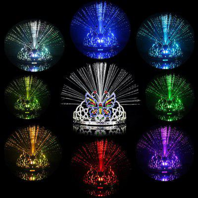 Color Changing LED Butterfly Crown Flashing Fiber Headwear