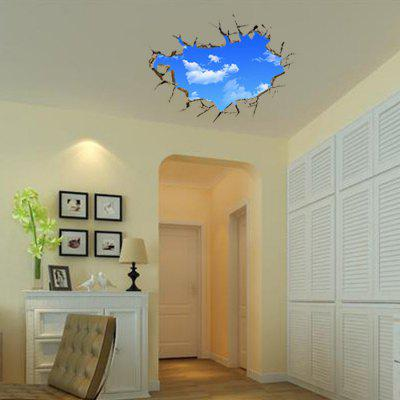 Blue Sky White Cloud Style 3D Stickers for Walls