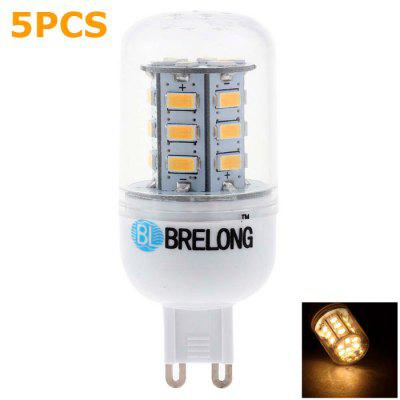 5 x BRELONG G9 3W SMD 5730 300Lm LED Corn Light