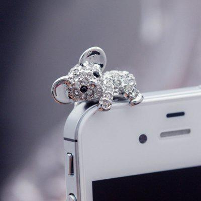 ENKAY Universal Anti-dust Plug Ear Cap 3.5mm Diamond Bear Shape Style