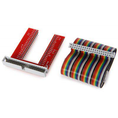 GPIO Expansion Breadboard + 40P Rainbow Plat Cable for Raspberry Pi