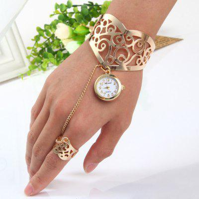Ailisha Female Ring Bracelet Hollow-out Pattern Quartz Watch with Steel Band