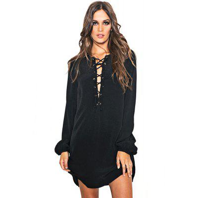 Buy Sexy V-Neck Flare Sleeve Criss Cross Hollow Out Pure Color Ladies Mini Dress, BLACK, M, Apparel, Women's Clothing, Women's Dresses, Long Sleeve Dresses for $8.89 in GearBest store