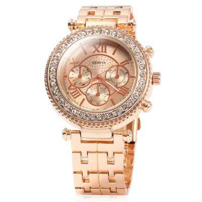 Geneva Ladies Quartz WatchWomens Watches<br>Geneva Ladies Quartz Watch<br><br>Available Color: Gold,Rose Gold,Silver<br>Band material: Stainless Steel<br>Brand: Geneva<br>Case material: Stainless Steel<br>Clasp type: Folding clasp with safety<br>Display type: Analog<br>Movement type: Quartz watch<br>Package Contents: 1 x Geneva Watch<br>Package size (L x W x H): 22.00 x 5.00 x 2.00 cm / 8.66 x 1.97 x 0.79 inches<br>Package weight: 0.1360 kg<br>Product size (L x W x H): 21.00 x 4.00 x 1.00 cm / 8.27 x 1.57 x 0.39 inches<br>Product weight: 0.0860 kg<br>Shape of the dial: Round<br>Special features: Decorating small sub-dials<br>Style: Fashion&amp;Casual, Diamond<br>The band width: 2.0 cm / 0.79 inches<br>The dial diameter: 4.0 cm / 1.57 inches<br>The dial thickness: 1 cm / 0.39 inches<br>Watches categories: Female table