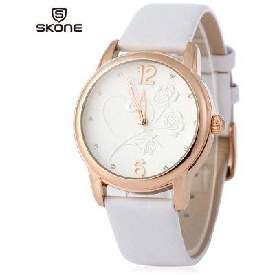 SKONE 9399 Women Quartz Rhinestone Number Stereo Rose Dial Wrist Watch
